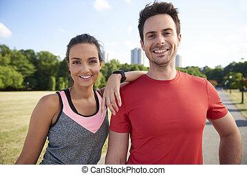 nach, paar- portrait, lächeln, hart, workout
