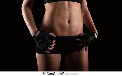 nach, sexy, frau, workout