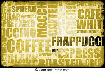 nach, zrnková káva, grafické pozadí