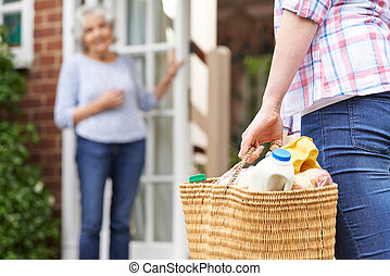 nachbar, person, shoppen, senioren