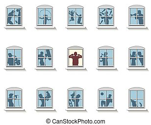 nachbarn, geräusch, windows