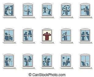 nachbarn, windows, geräusch