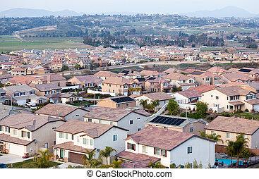 nachbarschaft, spitzen, dach, ansicht