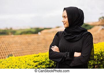 nachdenklich, junger, moslem, frau