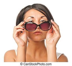 nachdenklich, sonnenbrille, m�dchen, hübsch