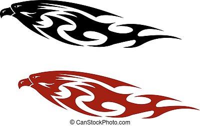 nachgebildet, festgehakt, raubtier, stilisiert, schnabel, heftig, vogel