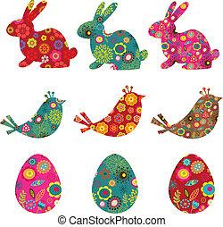 nachgebildet, kaninchen, vögel, und, eier