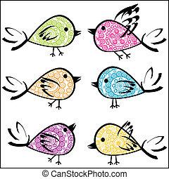 nachgebildet, satz, vögel, bunte