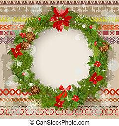 nachgebildet, verzierung, grunge, weihnachten, hintergrund