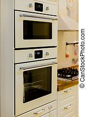 nachgebildet, wohnung, elektrisch, senkrecht, boden, wand, kochherd, weißes, zeitgenössisch, kitchen., oder, elegant, inneneinrichtung, graue , furniture.modern, fliese, daheim, ansicht, oven., kueche