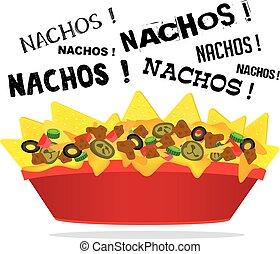 nacho, チーズ, 肉, jalapeno, 荷を積まれる