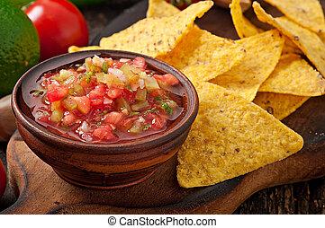 nacho, abbassarsi, messicano, patatine fritte, salsa