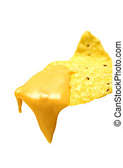 nacho chip - a tortilla with hot nacho cheese dripping off...