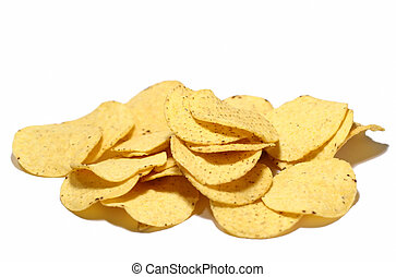Isolated bunch of nacho chips