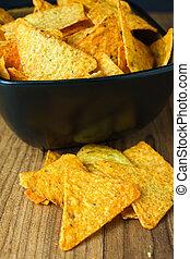 nacho, formaggio, tortilla scheggia
