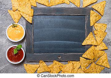 nacho, gesso, messicano, asse, salse