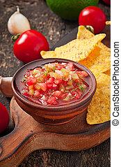 nacho, inmersión, mexicano, pedacitos, salsa