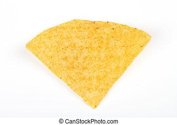 nacho, scheggia, bianco, isolato, fondo