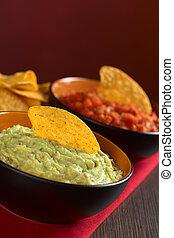 nacho, tomate, guacamole, hecho, mexicano, guacamole),...