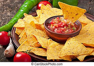 nacho, trempette, mexicain, chips, salsa