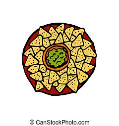 Nachos and guacamole - mexican traditional food. Fast food. Hand drawn sketch doodle. Vector color illustration for menu, poster, web and package design. Isolated on white background.