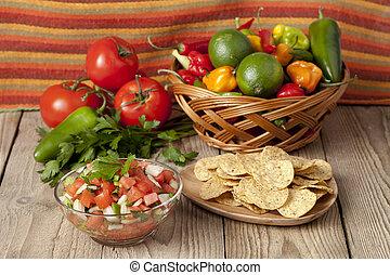 nachos and mexican salsa