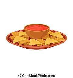 Nachos and red sauce. Vector illustration on white background.