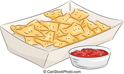 Illustration Featuring a Plate of Nachos Accompanied by a Bowl of Salsa