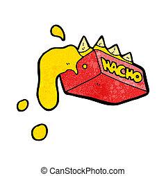 nachos, caricatura, caseoso