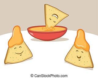 Nachos Cartoon - Cute Illustration of nacho chips and...