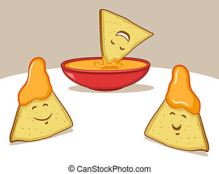 Illustration of tortilla chips characters with cheese