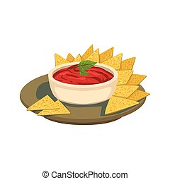 Nachos Chips With Tomato Salsa Traditional Mexican Cuisine Dish Food Item From Cafe Menu Vector Illustration