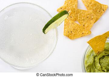 nachos, coquetel, margarita