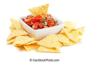 Nachos corn chips with homemade salsa - Nachos corn chips...