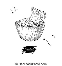 Nachos drawing. Traditional mexican food vector illustration.