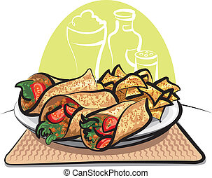 nachos, fajitas, チップ