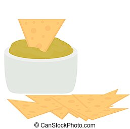 Nachos icon flat, cartoon style isolated on white background. Vector illustration, clip art. Traditional Mexican food.