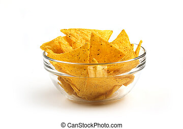 nachos in a glass bowl on white background