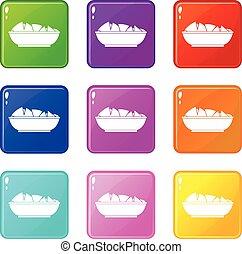 Nachos in bowl icons 9 set