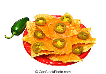 Nachos Isolated - Plate of nachos with jalapeno pepper...