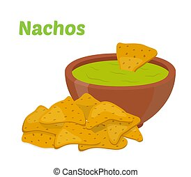 Nachos mexican chips, sauce salsa. Cartoon flat style. Vector illustration