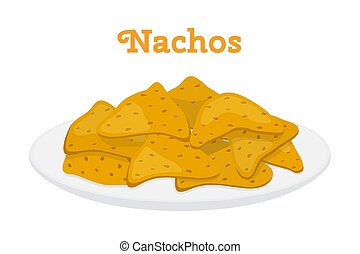 Nachos mexican chips, spicy fast food. Cartoon flat style. Vector