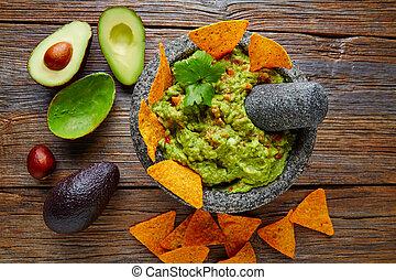 nachos, mexicano, guacamole, molcajete