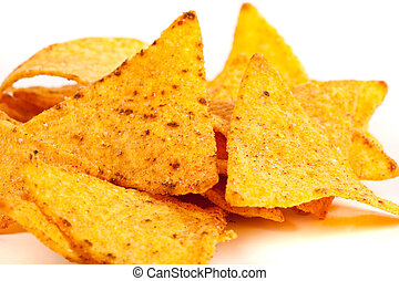 Nachos - Studio close up of nachos (mexican chips) isolated...