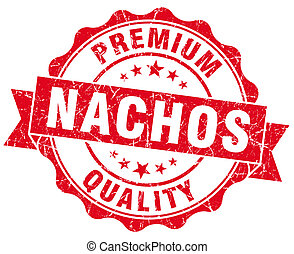 nachos red grunge seal isolated on white