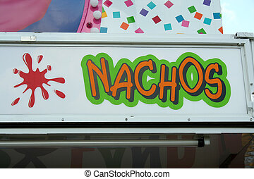 Nachos Sign on carnival refreshment stand