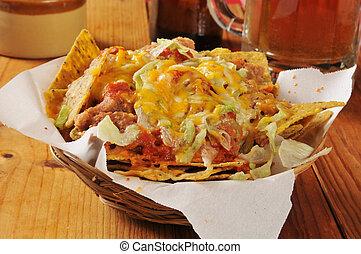 Nachos - Bean and cheese nachos on black bean corn chips