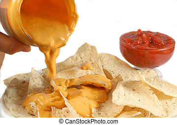 nachos - nacho chips with melted cheese and salsa