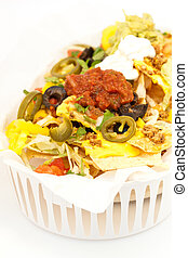 Nachos - Fresh cheese nacho with beef and vegetable on the...
