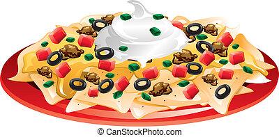 Illustration of a nachos supreme